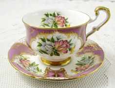Paragon Mauve Tea Cup and Saucer with Gold Decor and Sweet Pea Flowers, Vintage…