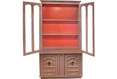 Gray & Coral Display Cabinet   Perfect for shoe storage in your room.