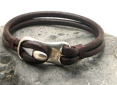FREE SHIPPING Men's leather bracelet Brown leather men's bangle bracelet with hammered metal work clasp