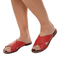 Sandália rasteira confort - vermelha - OQVestir - R$ 259,00
