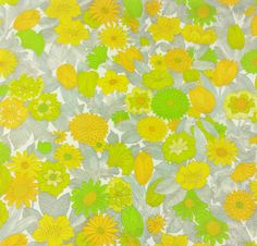 Vintage Barkcloth Fabric Flower Print Floral by EclecticEmbrace