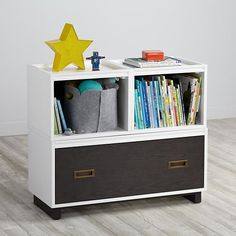 Elevate Stackable Storage Collection  | The Land of Nod  Food for thought:  could work in front of boys beds with either drawer or baskets and and cushion on top