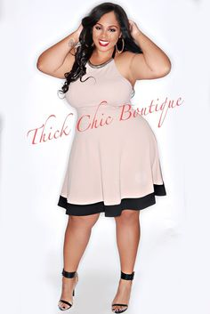 Jewel Neck Skater Dress | Thick Chic Boutique
