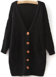 Black V Neck Long Sleeve Cable Knit Cardigan - Sheinside.com