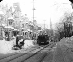 La rue Saint-Denis au nord du boulevard De Maisonneuve à l'hiver 1914 /
