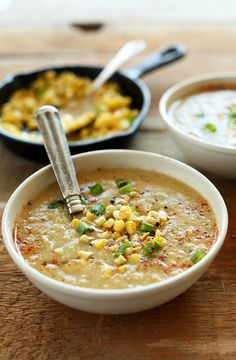 9 ingredient summer corn soup! Vegan, gluten free and just 9 ingredients. Blend for extra creamy texture.