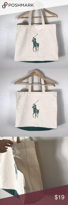 Polo Ralph Lauren Canvas Tote Bag Cream Green Polo Ralph Lauren Cotton Canvas  Tote Bag cfbab4ef86c