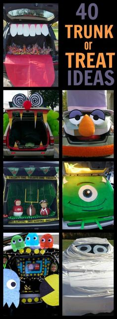 40 AWESOME TRUNK OR TREAT IDEAS One thing we look forward to each Halloween is Trunk or Treating . It is such a good time! Just check the … Halloween Trick Or Treat, Holidays Halloween, Spooky Halloween, Halloween Treats, Halloween Party, Halloween Decorations, Halloween Stuff, Halloween Camping, Halloween 2018