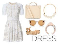 """white dress"" by kapotka ❤ liked on Polyvore featuring Lover, Accessorize, Swedish Hasbeens, Zanzan, Marni and Saloukee"
