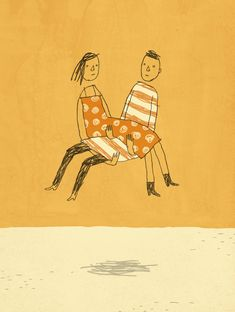 """""""I am no superhero. Neither is my wife. But we have a bond that somehow enables us to save each other from basic human weakness. This is its own kind of superpower."""" Click to read more of """"Superheroes, Just for Each Other."""" (Illustration: Brian Rea)"""