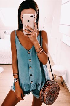 perfect summer outfits you need to have moda m atuendo, Cute Summer Outfits, Stylish Outfits, Spring Outfits, Summertime Outfits, Cute Summer Tops, Mode Outfits, Fashion Outfits, Womens Fashion, Style Fashion
