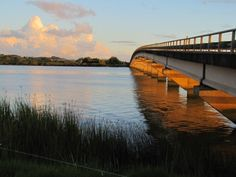 Sunset lights up the bridge: Dargaville NZ