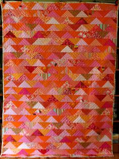 another flock of triangles quilt, this one with lots of color!