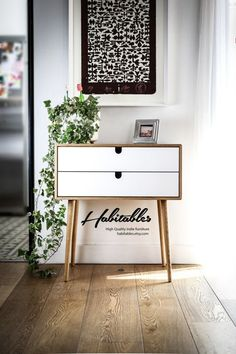Mid-Century Scandinavian Side Table / Entry table / Dresser / commode / console Frame and legs made in oak ,and drawers lacquered in white