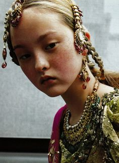 'Couture du Monde': Devon Aoki in Christian Dior Fall Winter 1999 Haute Couture; photographed by Ruven Afanador for Vogue Paris, September 1999