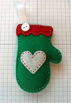 Cozy Green Felt Mitten Ornament by StampandScrap on Etsy