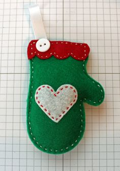 Cozy Green Felt Mitten Ornament by StampandScrap on Etsy