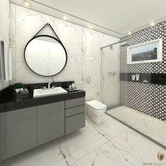 Banheiro em tons neutros branco, preto e cinza. Cores que geralmente são preferência para o público masculino, mas que as mulheres adoram também. Ambiente lindo e personalizado!   .  {Projeto: @iostarquitetura}