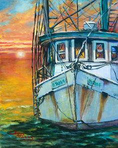 Gulf Coast Shrimper by Dianne Parks - Gulf Coast Shrimper Painting - Gulf Coast Shrimper Fine Art Prints and Posters for Sale Artist Canvas, Artist Painting, Boat Drawing, Louisiana Art, New Orleans Art, La Art, Boat Painting, Beach Art, Art Photography