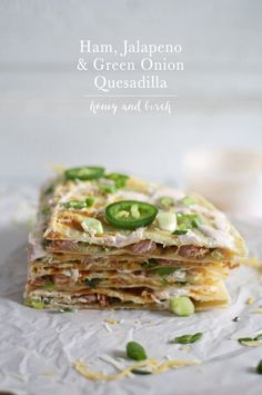 If you have a ton of leftover ham after Easter or Christmas dinner then make this ham jalapeno green onion quesadilla. Can also substitute shredded chicken also. Wrap Recipes, Side Dish Recipes, Pork Recipes, Cooking Recipes, Easy Recipes, Spicy Recipes, Popular Recipes, Drink Recipes, Sweet Recipes
