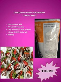 The Le-Vel THRIVE Experience is an 8 week premium lifestyle plan, to help you reach peak physical and mental levels. Start Thriving with THRIVE by Le-Vel! Chocolate Covered Strawberries, Frozen Strawberries, Healthy Drinks, Get Healthy, Healthy Eating, Healthy Dinners, Healthy Smoothies, Clean Eating, Healthy Recipes