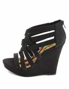 Caged Zip Back Wedge: Charlotte Russe