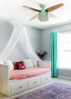 Home Decorating DIY Projects  :     Girl's bedroom with SW Misty blue paint & Cranbrook ceiling fan    -Read More –