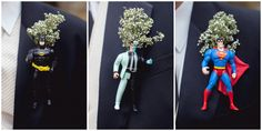 Superhero boutonnieres. How fun! | photo by http://www.jophotoonline.com | see more http://www.thebridelink.com/blog/2013/08/29/fall-wedding-at-daras-garden/
