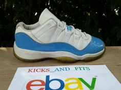 616f5a0eec43 2001 Nike Air Jordan XI 11 Low Patent Baby Blue White sz 5.5Y RIGHT SHOE
