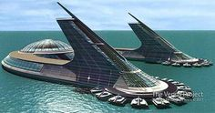 Coastal city design by Jacque Fresco, founder of The Venus Project based in Venus, FL. Creating Sovereign Governance Systems for all people asc. Villa Architecture, Futuristic Architecture, Amazing Architecture, Futuristic City, Futuristic Design, Mini Mundo, Futuristisches Design, Future Buildings, Design Industrial