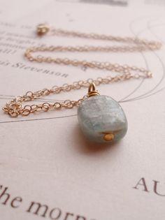 Kyanite Necklace Gold Chain Necklace Gold Kyanite by puffluna, $25.00