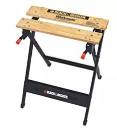 BLACK+DECKER W x H Wood Work Bench at Lowe's. With the ability to hold up 350 pounds, the Workmate® Work Bench with Vise is a great addition to any workshop. Features a durable steel frame and Portable Workbench, Folding Workbench, Workbench Plans, Easy Garage Storage, Garage Organization, Tool Storage, Portable Projector Screen, Woodworking Bench, Woodworking Tools