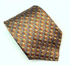 """Kolte Couture Silk Necktie Tie Orange Gold Self-Tipped 4"""" Wide 58 3/4"""" Long EUC #KolteCouture #NeckTie"""