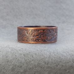 Art Nouveau Romantic Copper Wedding Ring, floral jungle ring, antique style band, his and her hippie ring, oxidized ready to ship Silver Stacking Rings, Silver Rings, Wedding Bands, Wedding Ring, Copper Wedding Band, His And Hers Rings, Art Nouveau Pattern, Hippie Rings, Forever