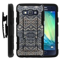 Buy Galaxy A3 Case, Galaxy A3 Holster, High Impact Advanced Double Layered Hard Cover with Built in Kickstand and Belt Clip for Samsung Galaxy A3 SM-A300FU from MINITURTLE   Includes Screen Protector - Native Sweater Pattern NEW for 9.99 USD   Reusell