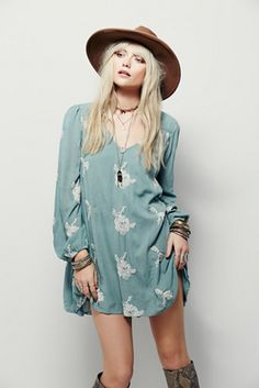 Embroidered Austin Dress | Free People Flowy swing dress with beautiful floral embroidered design.