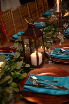 Turquoise Wedding Napkins Picture Of A With Eucalyptus Candle Lanterns Copper Chargers And Is Pure Personalized – Teal And Grey Wedding, Teal And Gold, Teal Color Schemes, Wedding Color Schemes, Wedding Themes, Wedding Ideas, Teal Wedding Decorations, Wedding Reception, Reception Food