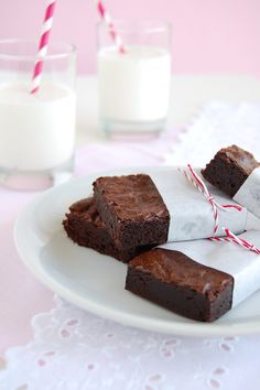 Best Cocoa Brownies. Perfect for Valentine's Day with a little whipped cream and strawberries (and, if you're me, some warm chocolate ganache on top).