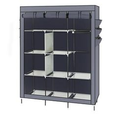 69 Quot Closet Organizer Wardrobe Closet Portable Closet Shelves High Leg Non Woven Fabric Assembled Cloth Wardrobe Gray