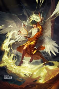 Manga and Anime artworks created by using computer software. Akali League Of Legends, Character Art, Character Design, Angel Warrior, Angel And Devil, Angels And Demons, Angel Art, Celestial, Mythical Creatures