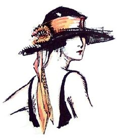 A very stylish Parisian dress hat with a transparent lace brim was featured in a 1921 Gazette du Bon Ton. The 1920 hat is trimmed with a chic wide silk ribbon band with two matching streamers and finished with a large silk ribbon flower.