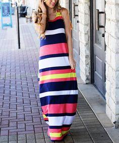 e01763ba1b9f Look at this  zulilyfind! So Perla Navy  amp  Fuchsia Color Block Maxi Dress