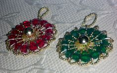 Christmas ornaments made from beads and safety pins