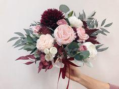 Wedding Bouquet Prices, Dahlia Wedding Bouquets, Burgundy Wedding Flowers, Burgundy Bouquet, Red Rose Bouquet, Bridesmaid Flowers, Bridal Flowers, Wedding Blue, Boyfriends