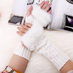 Women's Knitted Gloves Ladies Wrist Gloves Fluffy Long Winter Warm Half Finger  #Handmade #EverydayGloves