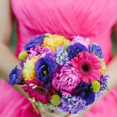 Bright colourful Wedding Bouquets