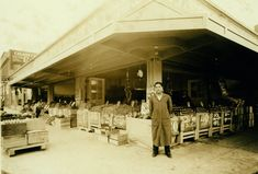 The well-stocked display of the Independent Fruit & Produce Co. belies the depression-era economy circa 1932. Was this business, at what is now 705 SE MLK, the precursor to the famous Corno's, a Portland landmark for years?   Portland, OR