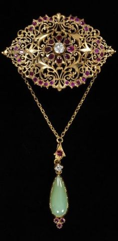 An antique gold, diamond, ruby and chrysoprase brooch, by Arthur Alphonse, Carlo Joseph and Carlo Giuliano (all possibly makers), circa 1895. Gold openwork set with a brilliant-cut diamond and rubies and hung with diamonds and chrysoprase on chains. #Giuliano #antique #brooch