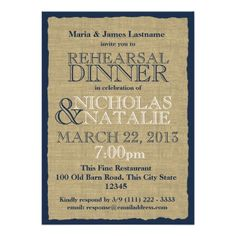 Burlap Look Rehearsal Dinner Navy Blue Custom Invite In our offer link above you will seeDiscount Deals          Burlap Look Rehearsal Dinner Navy Blue Custom Invite lowest price Fast Shipping and save your money Now!!...