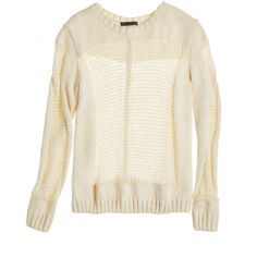 THEONNE Hannah Sheer Panel Sweater ($139) ❤ liked on Polyvore featuring tops, sweaters, off wht, layered tops, layered sweater, crew-neck sweaters, crew neck sweaters and crew neck pullover sweater
